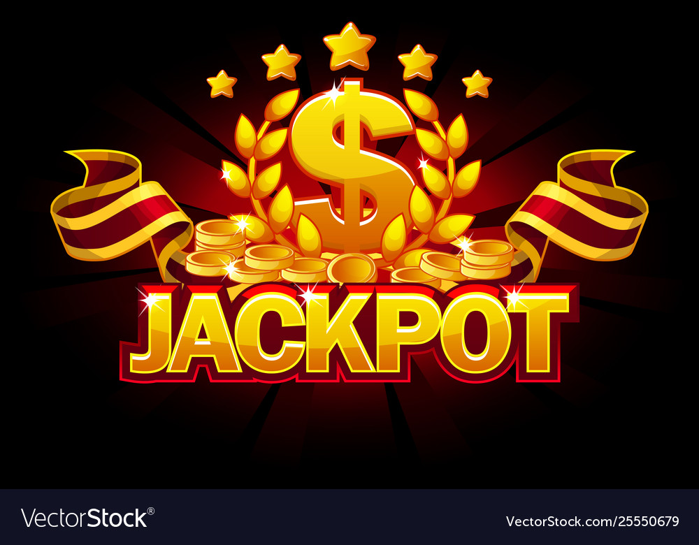 Jackpot banner with dollar sign and red ribbon