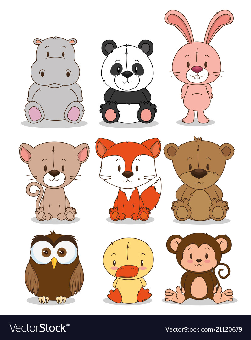 Little cute animals group