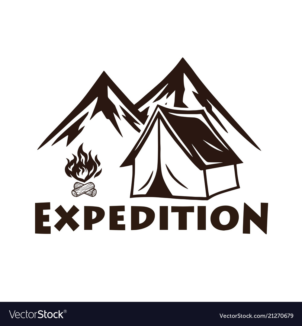 Mountain camping campfire logo and labels