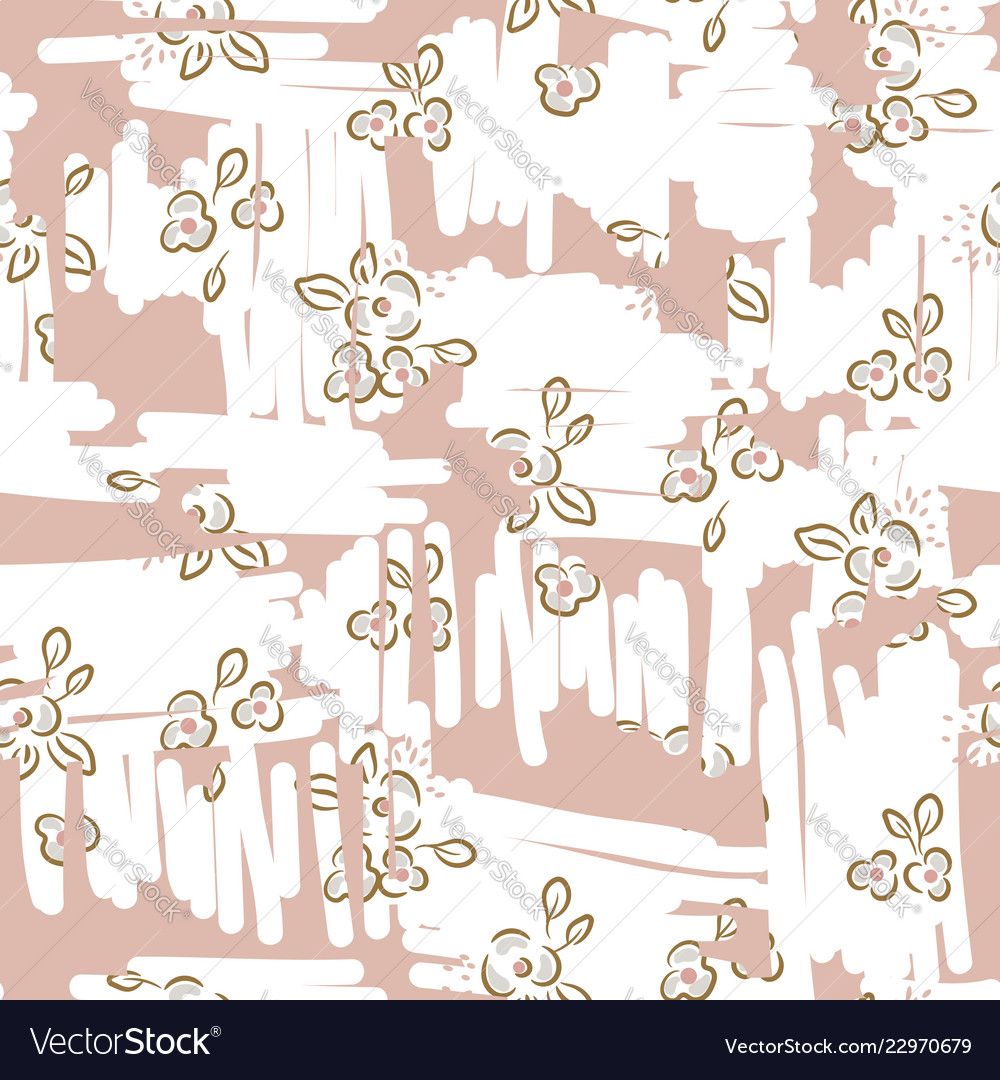 Retro light floral seamless pattern with hand