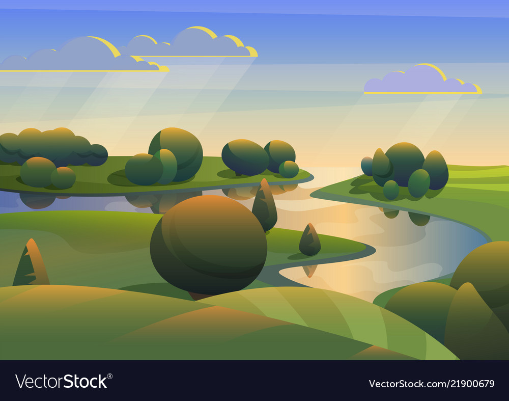 River with green meadows hills landscape