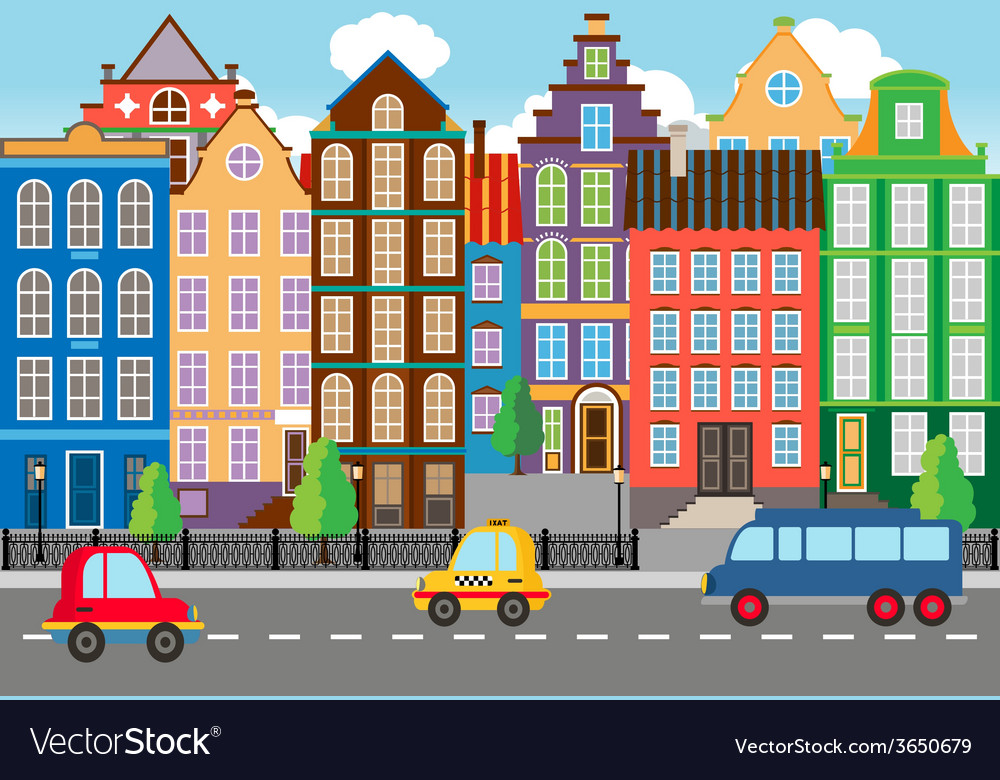 Seamless Cartooned City Life Graphic vector image