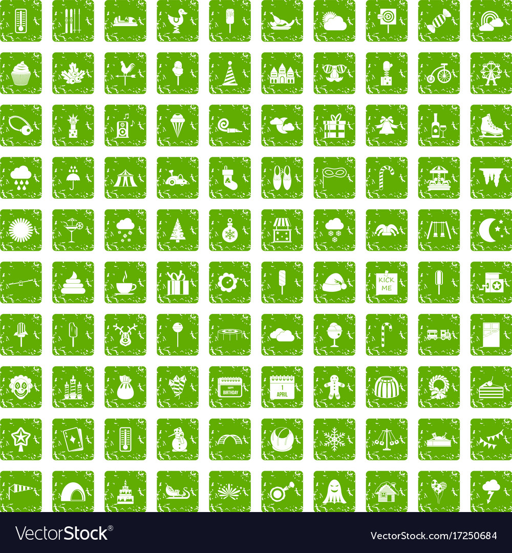 100 childrens parties icons set grunge green vector image