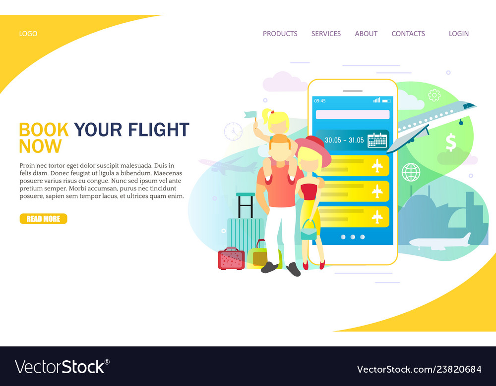 Book your flight now website landing page