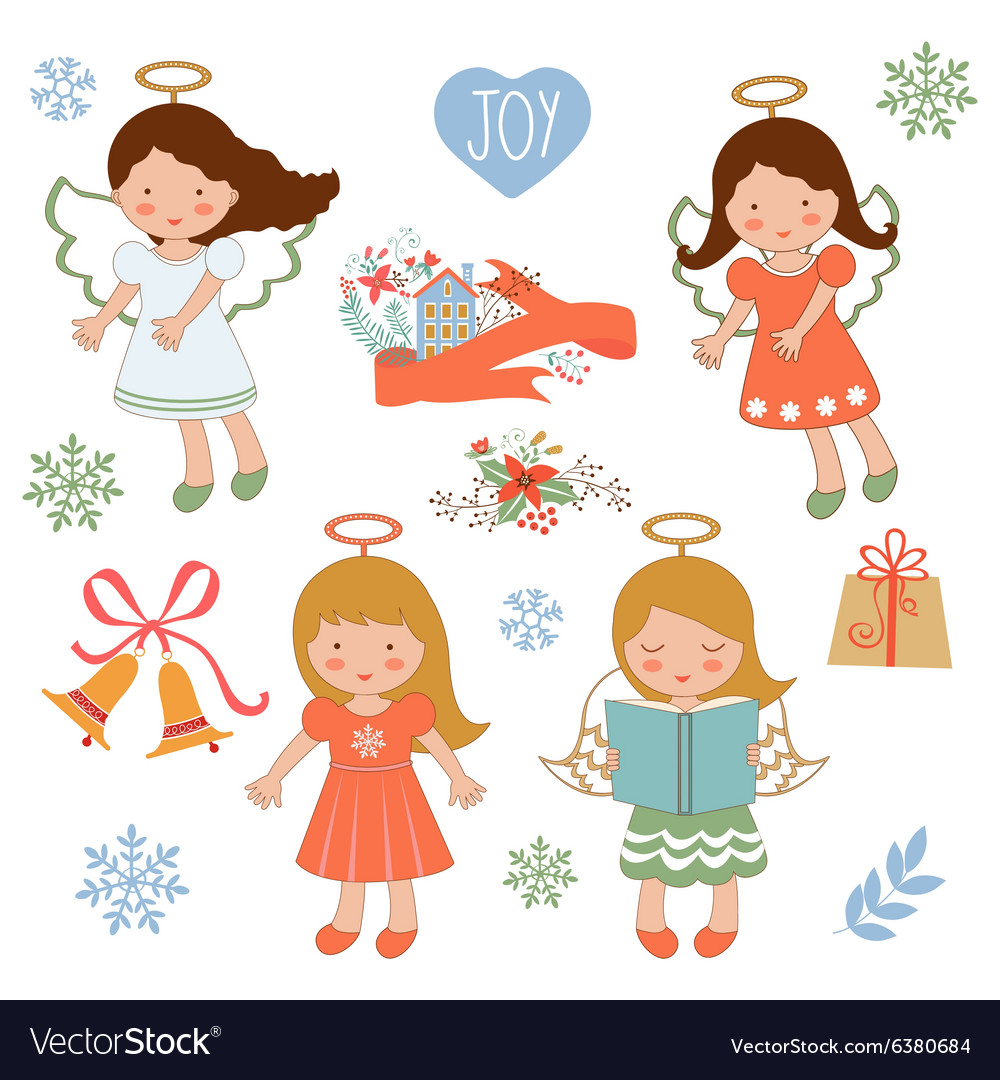 Cute Christmas collection with happy angels and