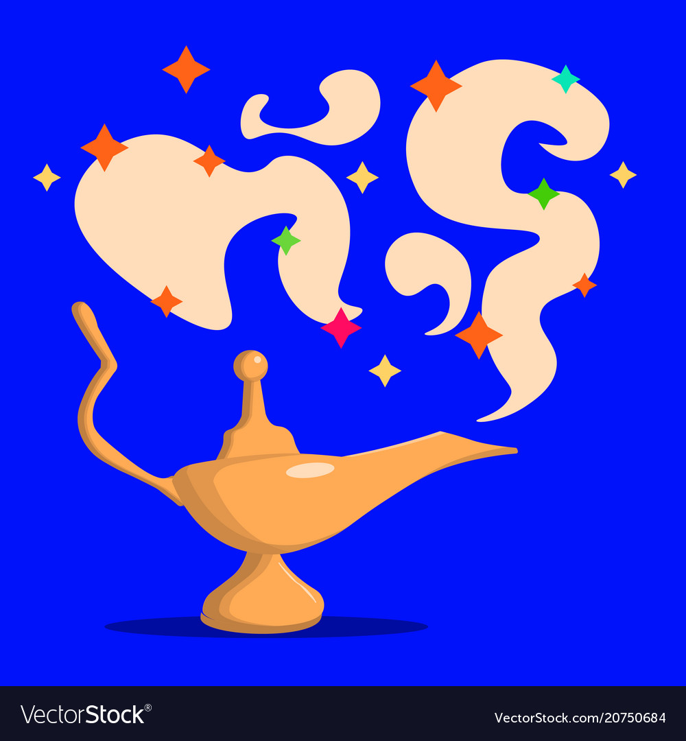 Golden magic lamp fable arabian fairy tale