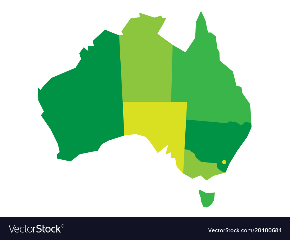 green blank map of australia vector image