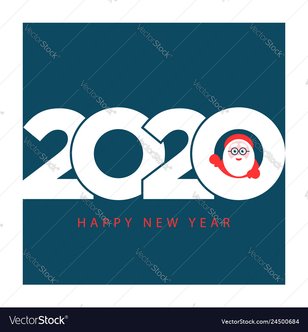 Happy new year 2020 gift card with santa claus