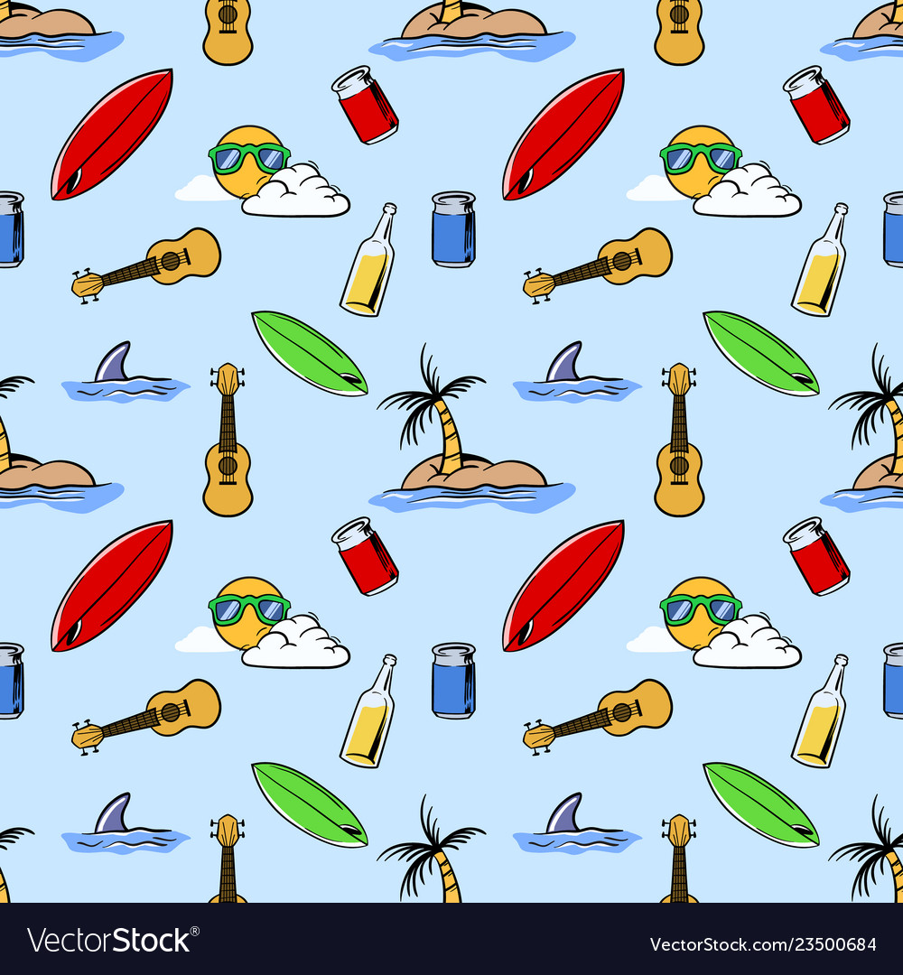 Holiday beach theme seamless pattern