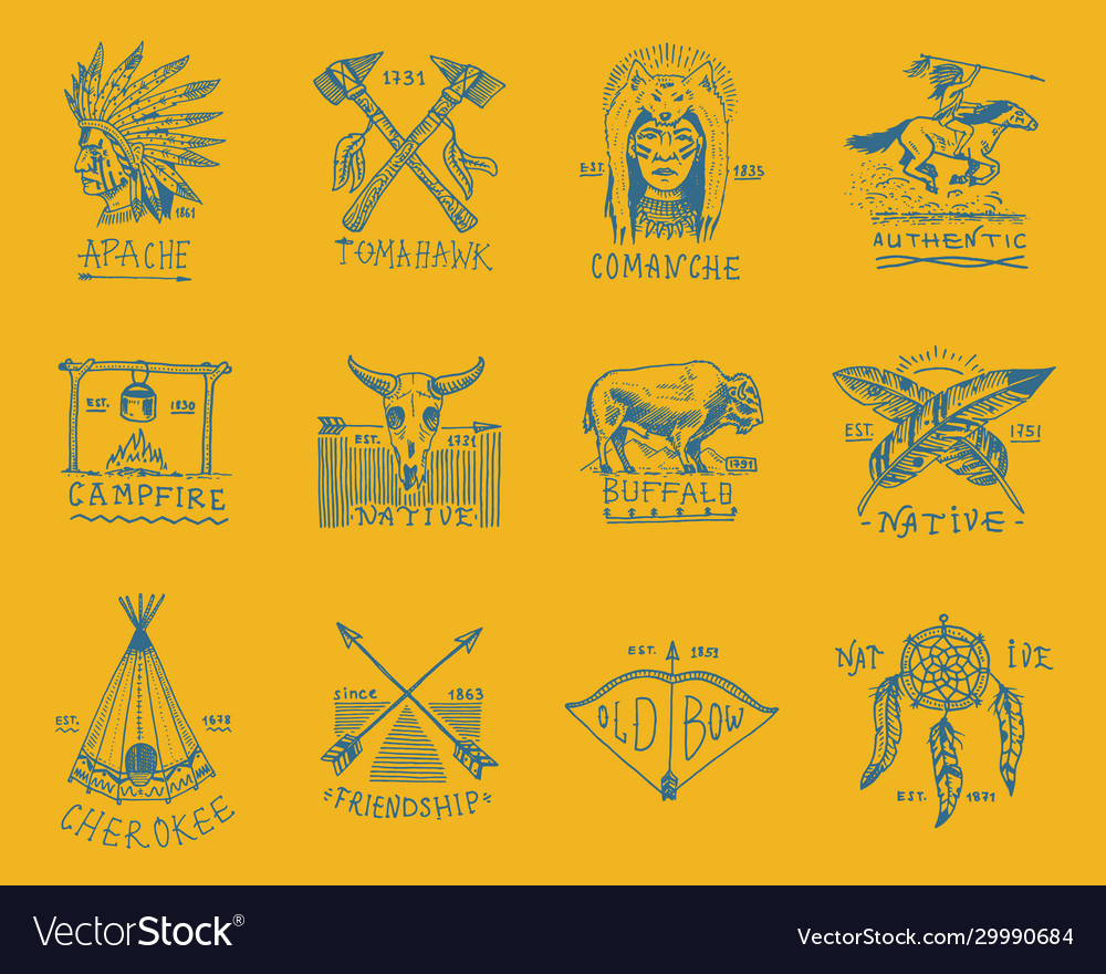Indian badges and native american labels set of