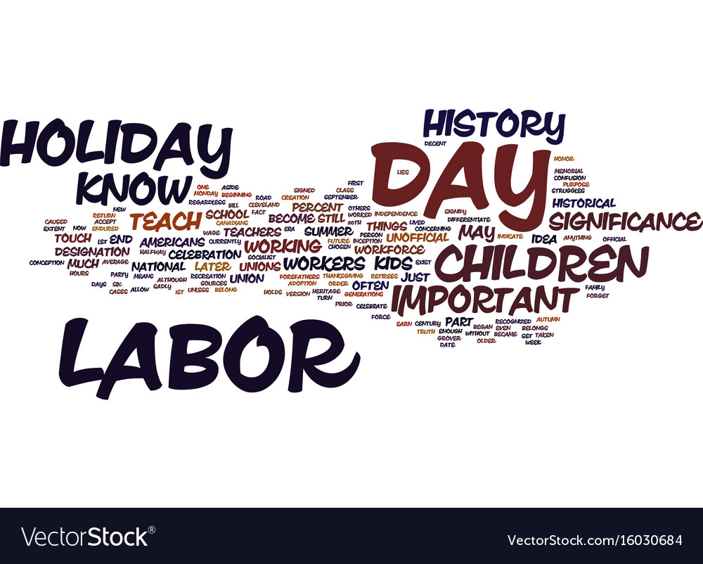 Labor day history for kids text background word