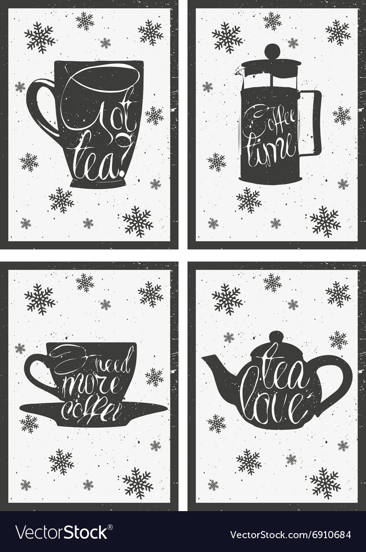 Lettering on hot coffee and tea cup Hand drawn