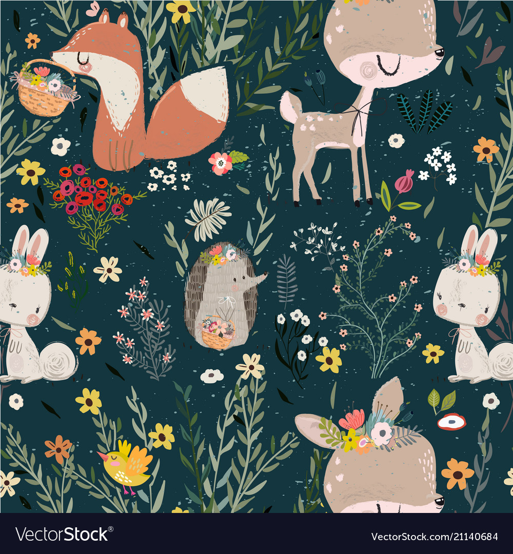 Seamless pattern with cute animals