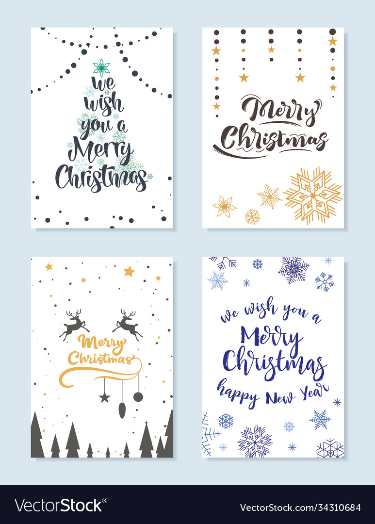 Set christmas cards with wishes for a happy