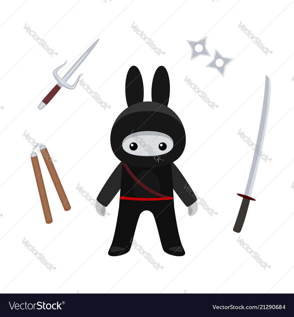 Standing cute bunny ninja with weapons isolated