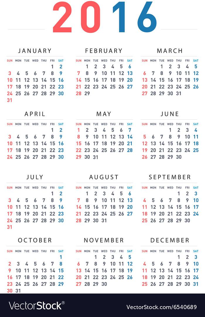 2016 modern calendar