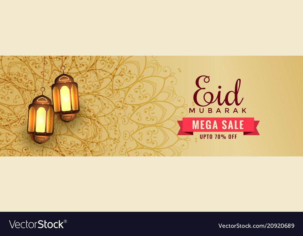Awesome eid sale banner header with hanging