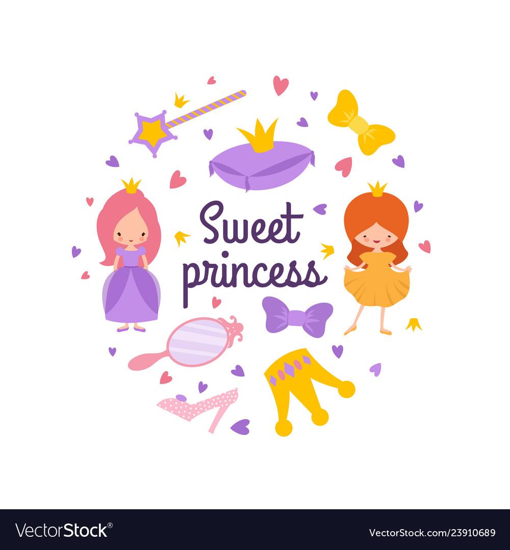 Cartoon character princess emblem with