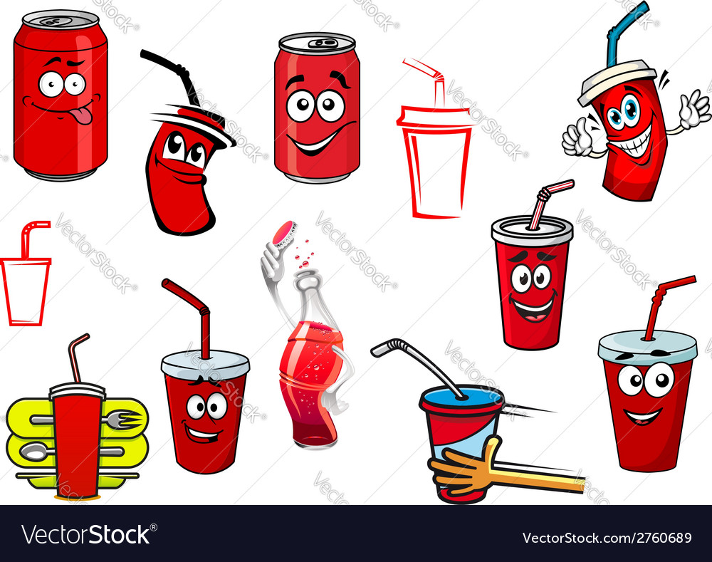 Cartoon cola and soda drinks vector image