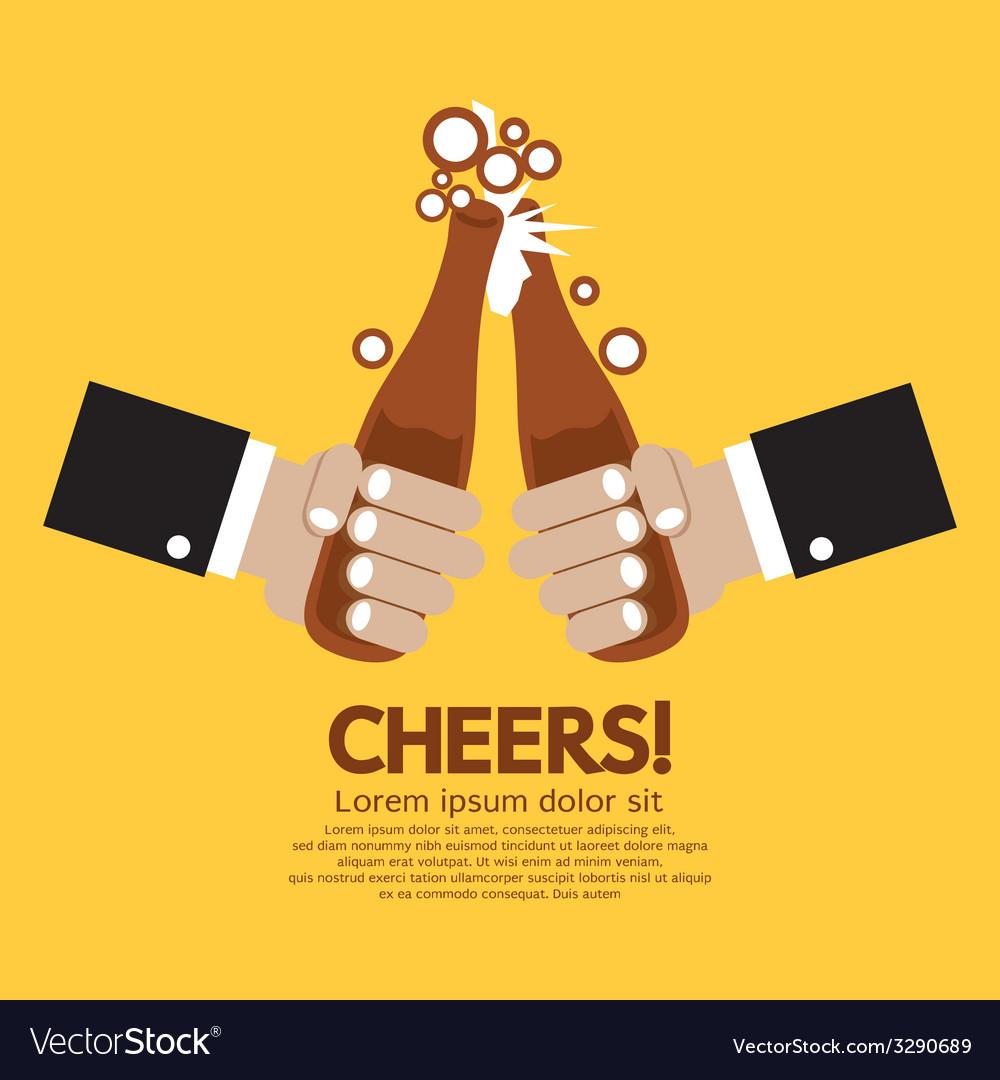 Cheering Of Two Bottles Beer vector image