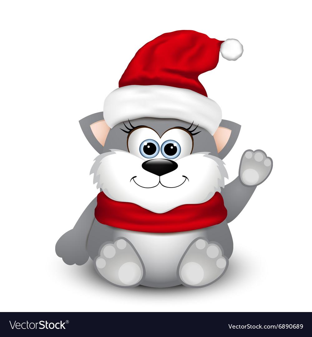 Cute kitten in Santa hat