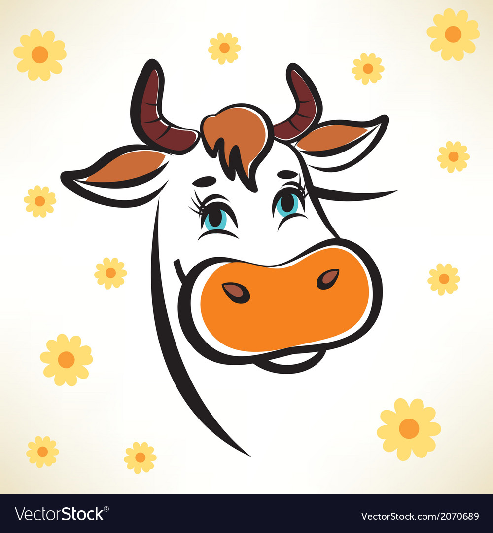 Happy Cow Portrait Outlined Symbol Royalty Free Vector Image