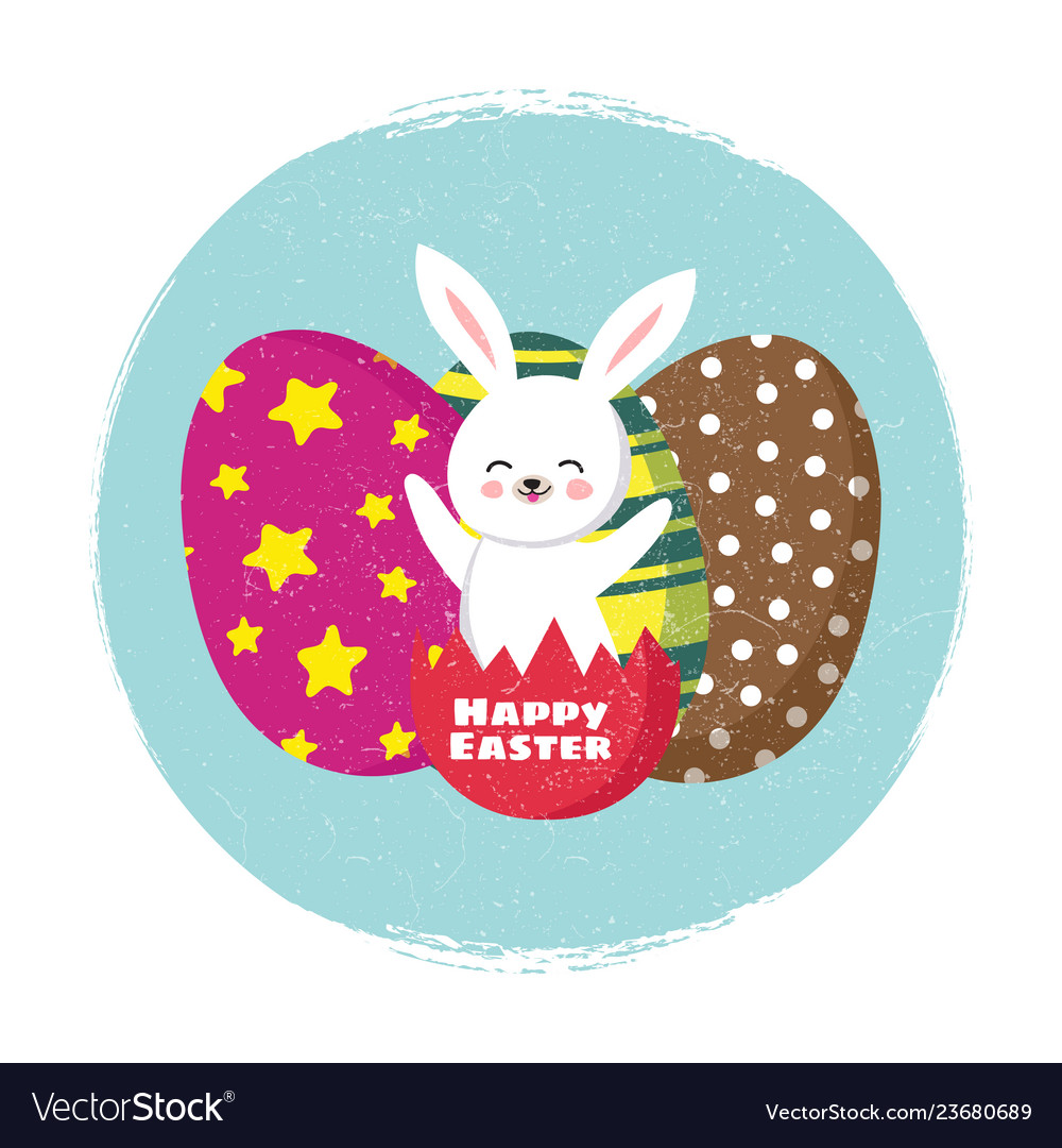 Happy easter card template with cartoon