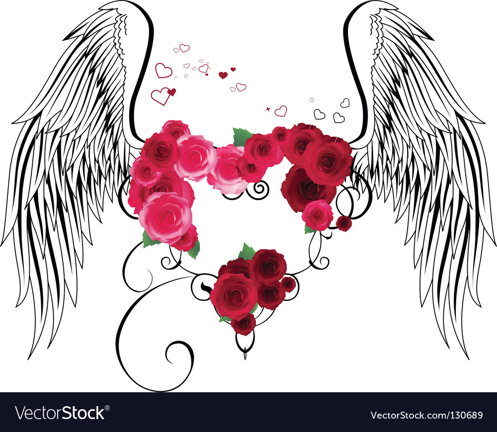 Heart with roses and wings vector image