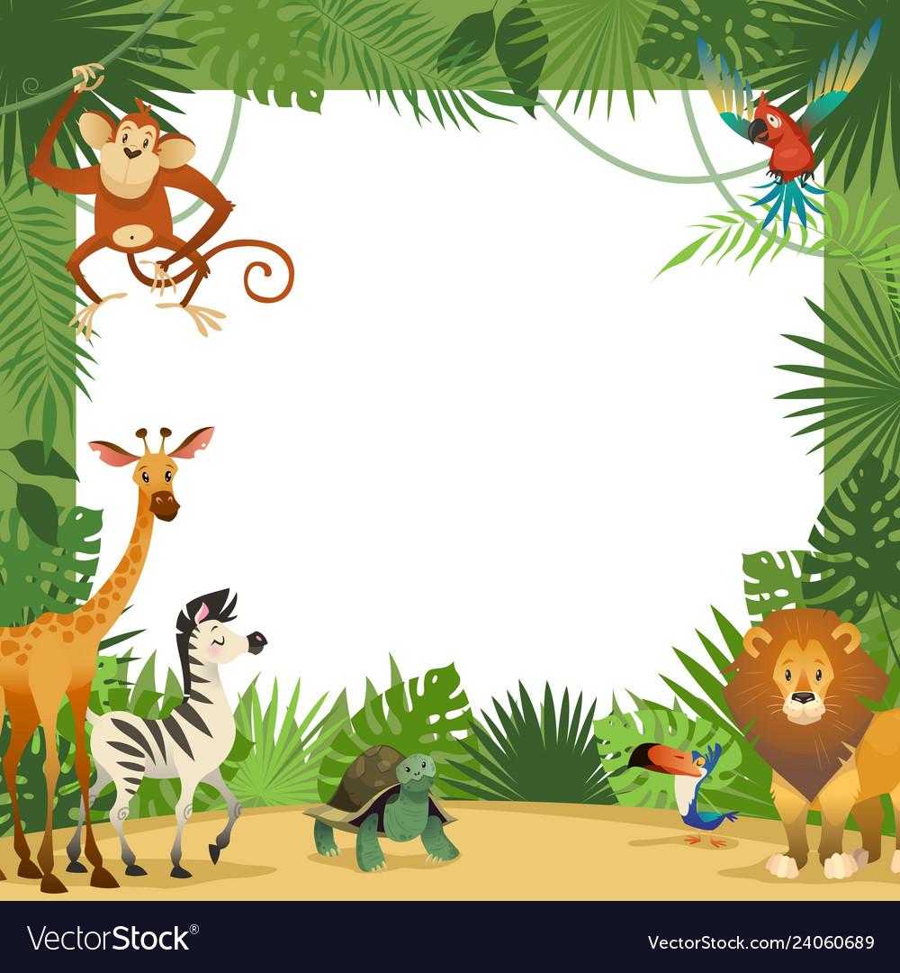 Jungle animals card frame animal tropical leaves