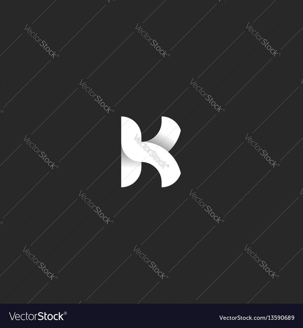 Logo k letter mockup black and white gradient