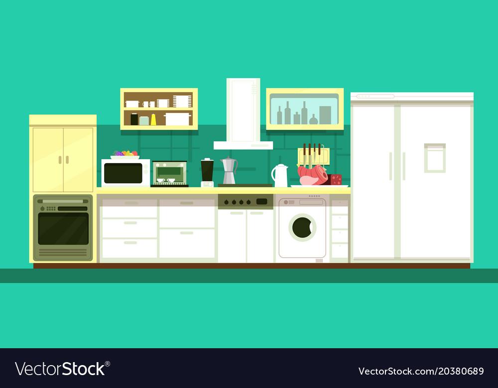 Nobody cartoon kitchen room interior