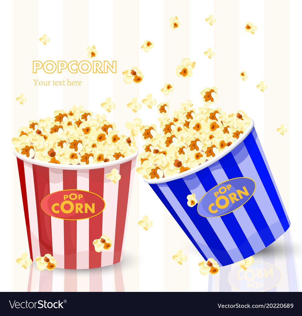 Popcorn in red and blue striped bucket boxes