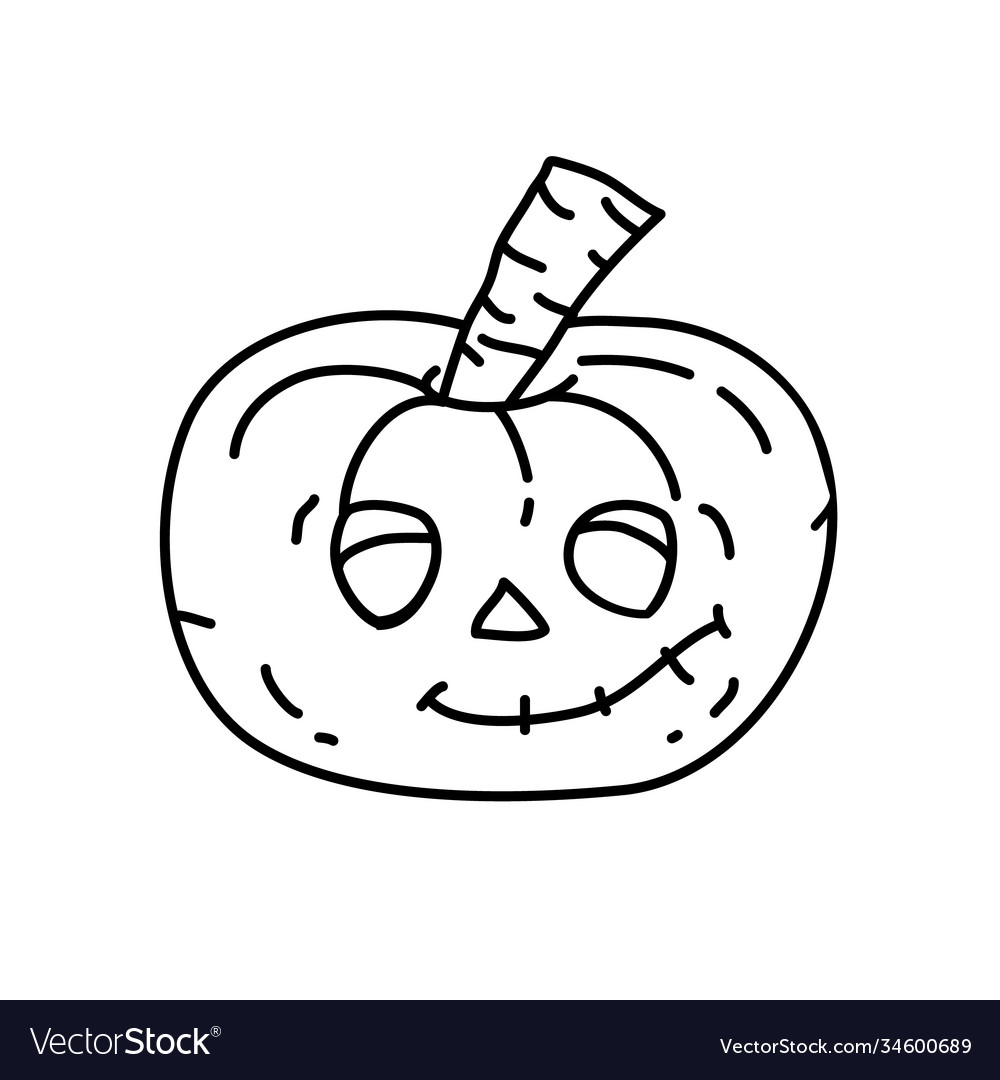 Pumpkin icon doodle hand drawn or black outline vector