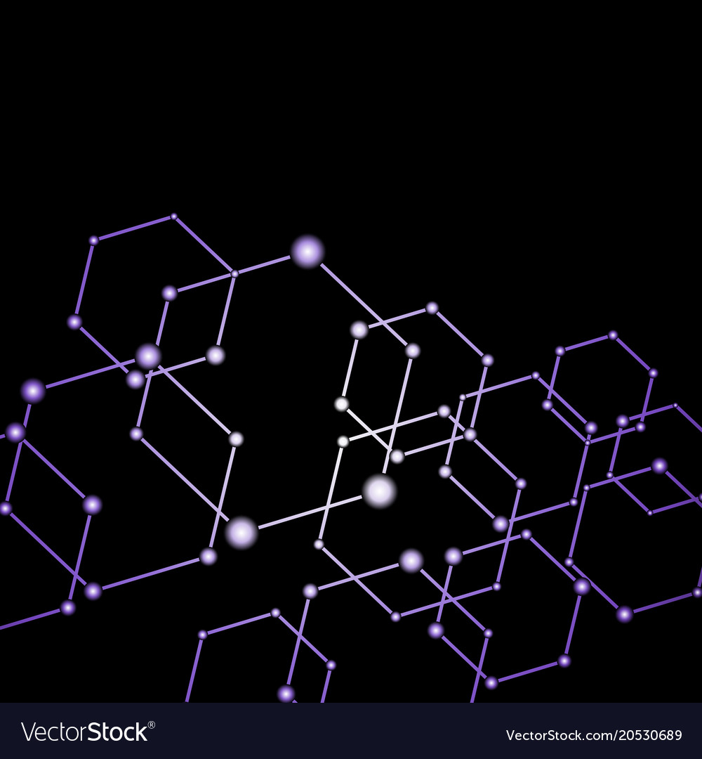 Purple light connected dots abstract background