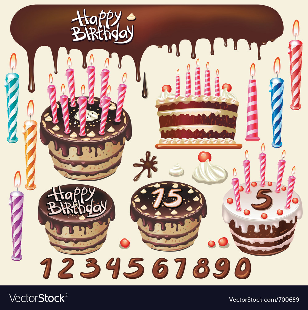 Set with chocolate cakes and birthday decoration vector image