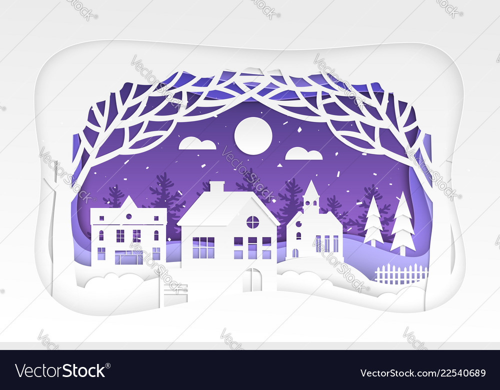 Winter town - modern paper cut