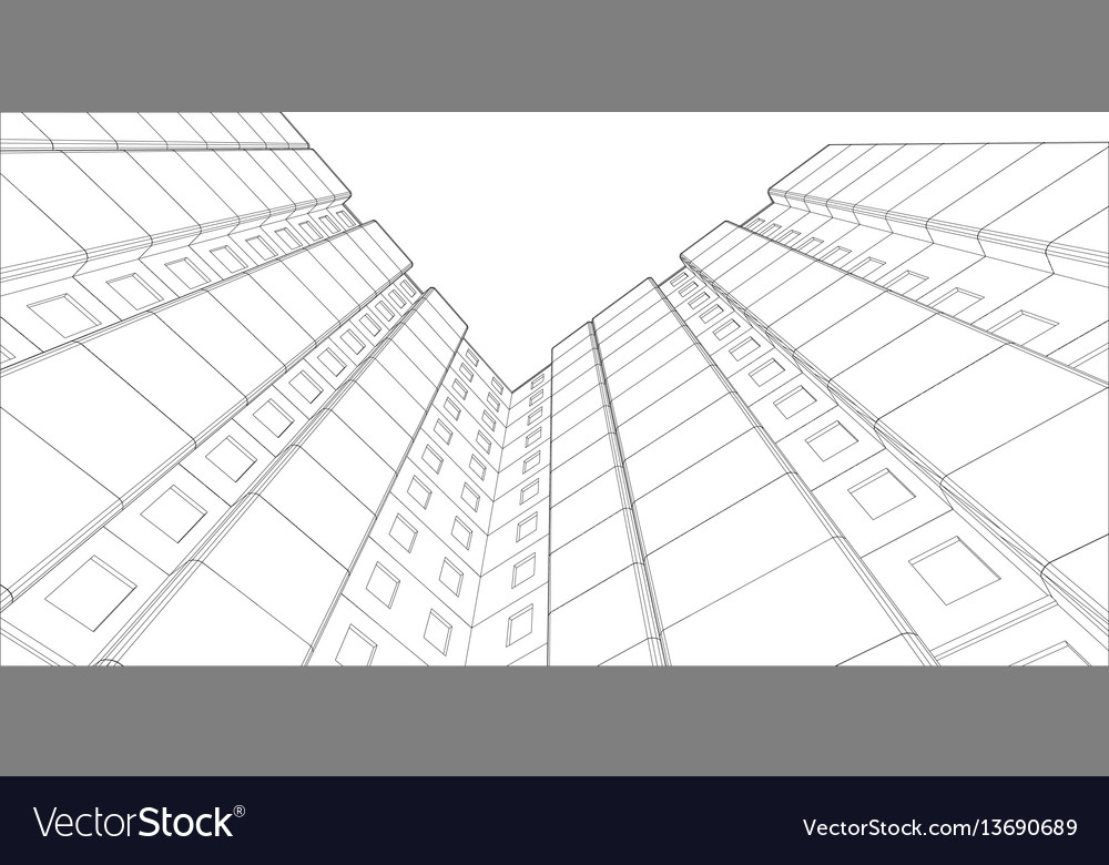 Wire-frame building view from bottom up Royalty Free Vector