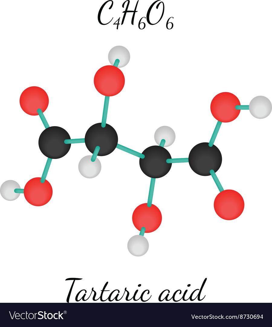 C4h6o6 Tartaric Acid Molecule Royalty Free Vector Image