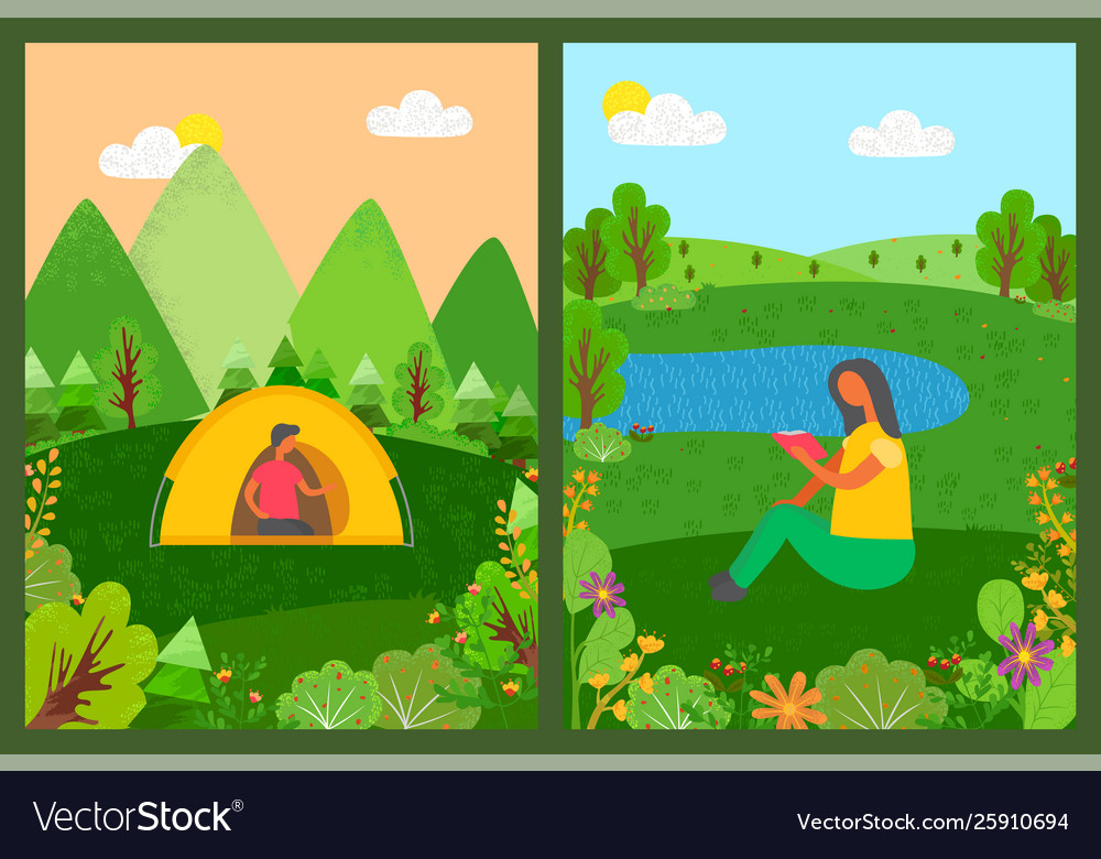 Camping people man in tent and woman reading