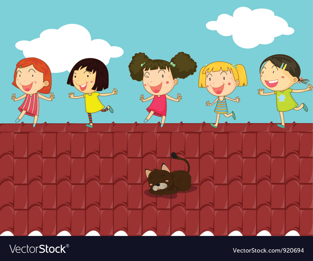 Cartoon of kids on the roof