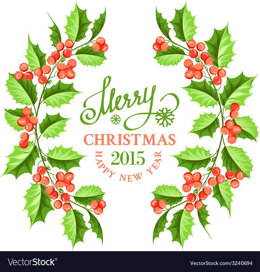 Christmas mistletoe branch frame vector image