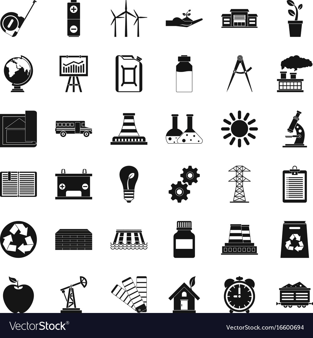 Company icons set simple style