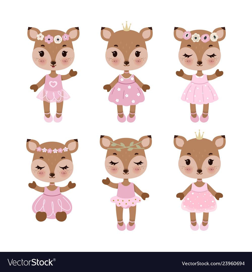 Cute deer in dress in modern flat style vintage