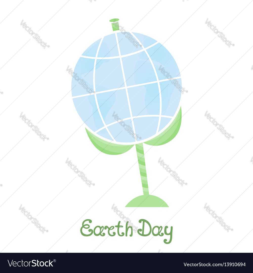 Earth day a planet on a stem with leaves