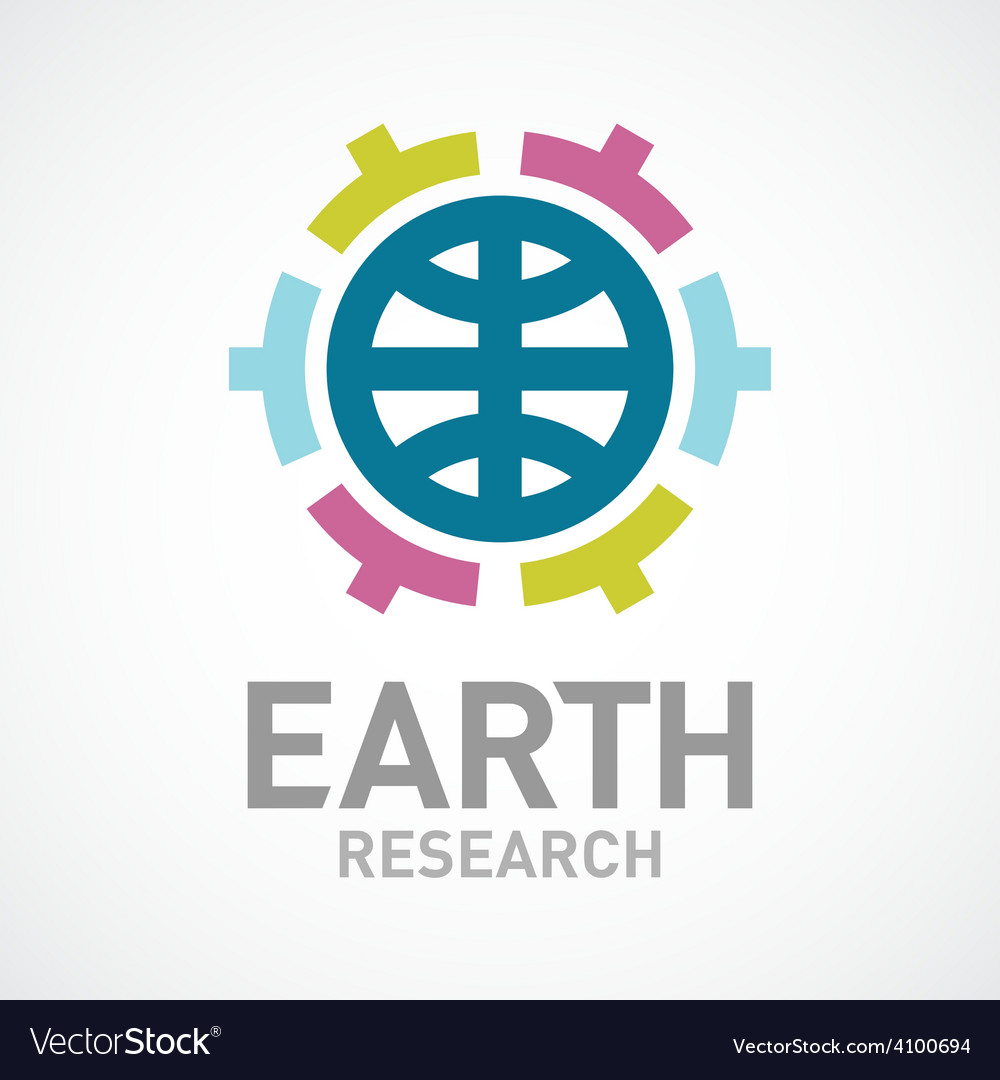Earth research or care logo template flat colors