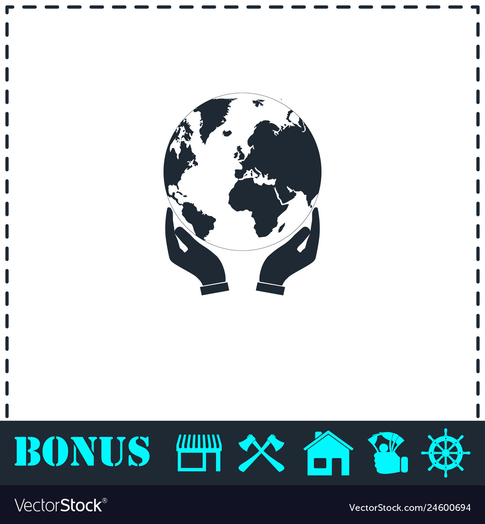 Hands holding globe earth icon flat