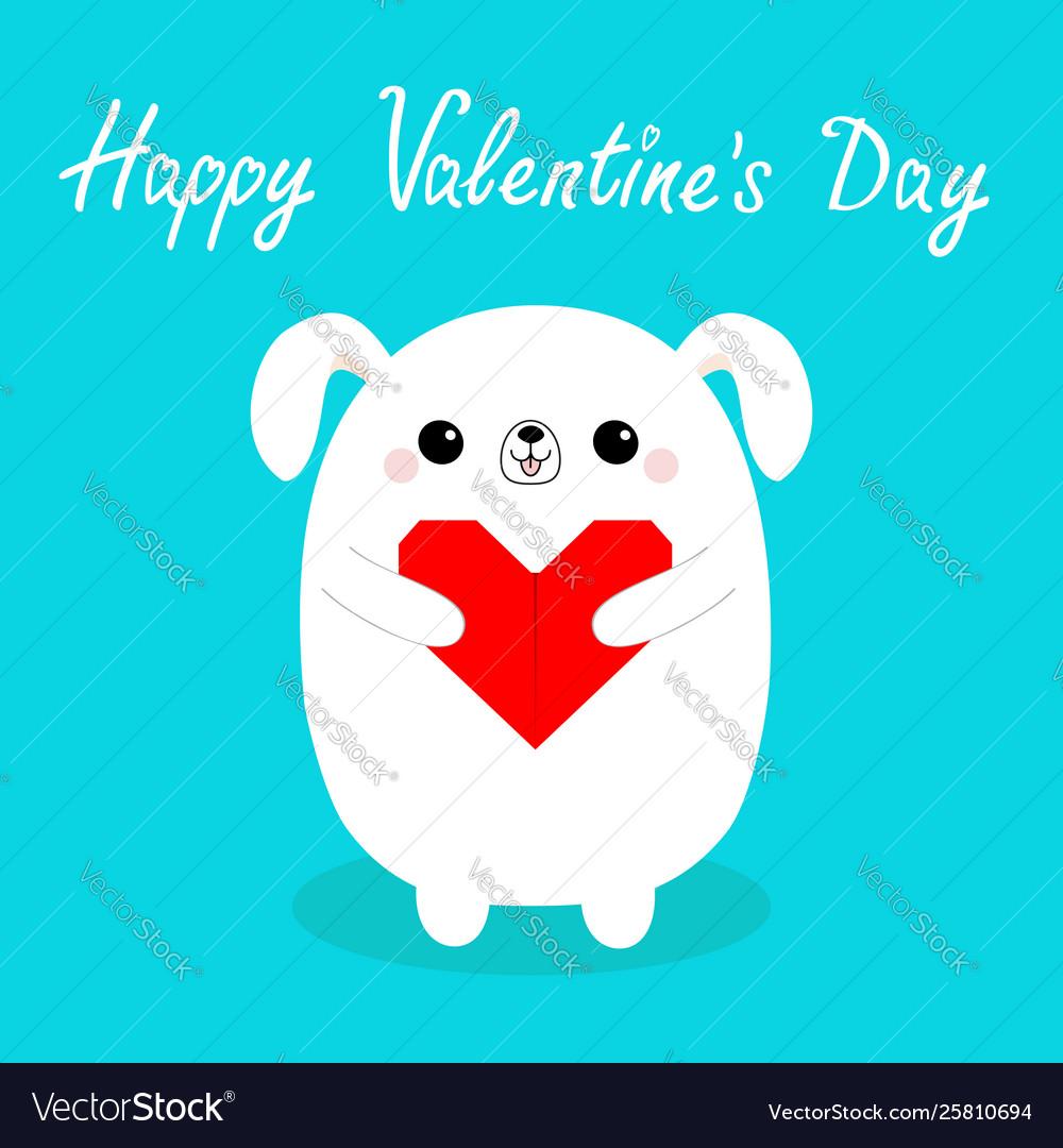 Happy valentines day white badog puppy head
