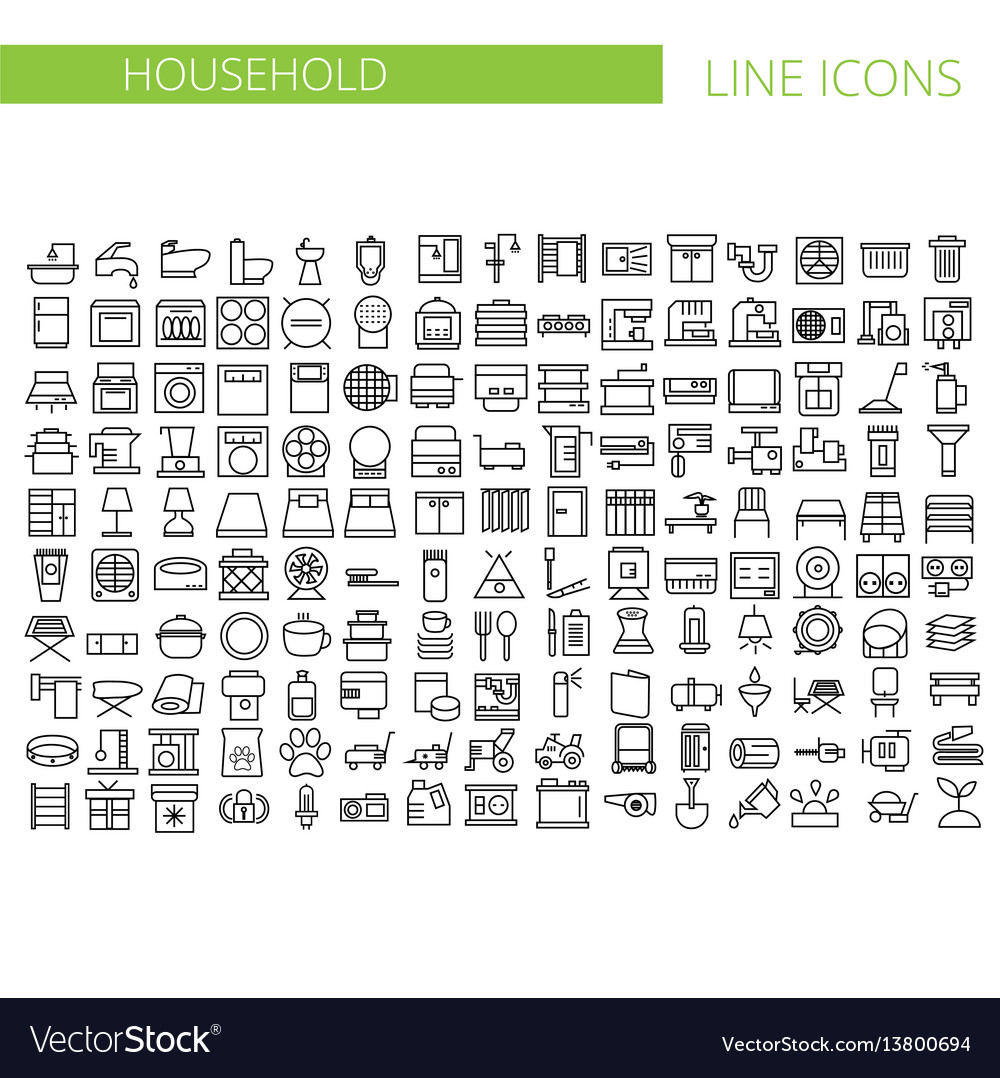 Household appliances line icons set
