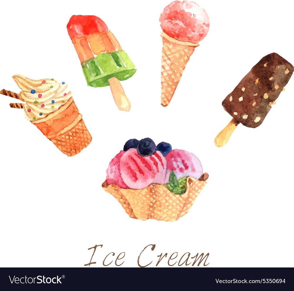 Ice Cream Watercolor Set vector image