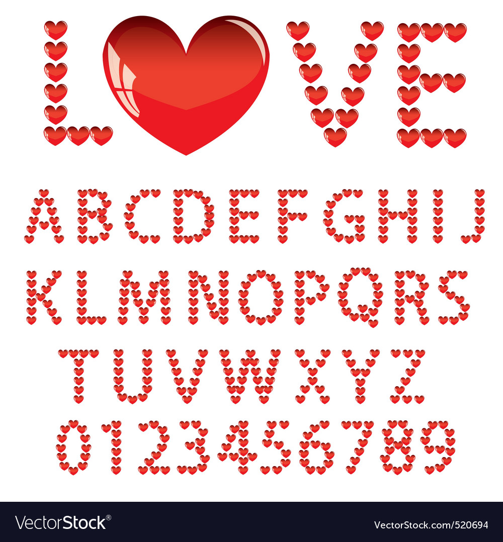 Love the alphabet with a heart letters and numbers